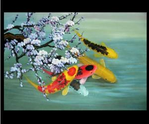 China Animal-Fish Home-decor Abstract Art;Hand Painted Artwork On Canvas Art on sale