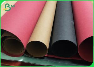China 0.55MM / 0.3MM Double Side Smooth Washable Kraft Paper Roll Brown / Black / Red on sale