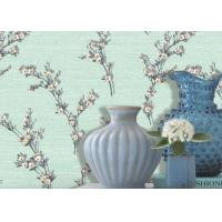 China Green Leaf Pattern 1.06m Korean Wallpaper / Flocking Home Decorating Wallpaper on sale
