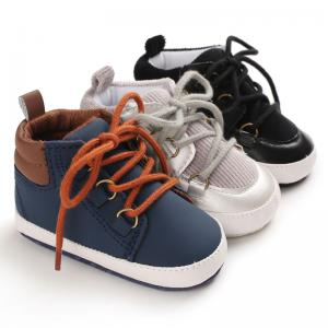 China Hot sale PU Leather Lace-up Outdoor barefoot ankle cool boy baby boots on sale