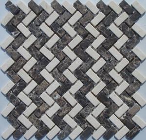 China Mosaico del mármol de Brown, Herribone Mosaice, mosaico del hexágono, mosaico del diseño de la onda de la cesta on sale