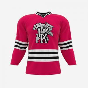 China Kawasaki 100% polyester hockey jersey fabric custom half and hald jerseys of ice training ice hockey on sale