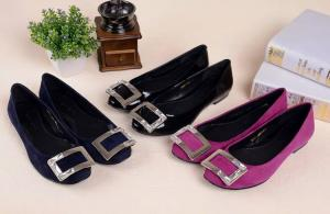 China Hot sales 2014 Genuine leather office lady fashion shoes with rhinestone buckle on sale