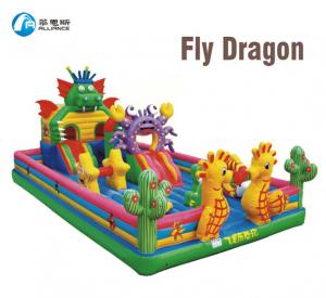China Fly Dragon Inflatable Bounce Castle Fun World Public Obstacle Course Jumper on sale