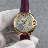 Cartier BALLON BLEU DE CARTIER Ladies 33mm Automatic Watch Rose Gold Leather Strap