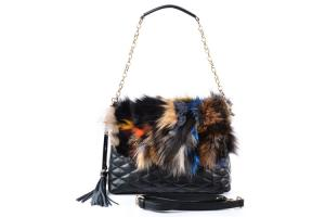 China Fox Fur Ladies Leather Shoulder Bags for Winter, Genuine Cow Leather Quilted on sale