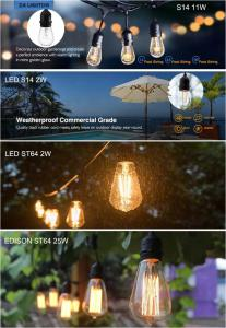 China Outdoor connectable decorative christmas wedding party celebrations tungsten vintage ST64 2w/25w edison bulb string ligh on sale