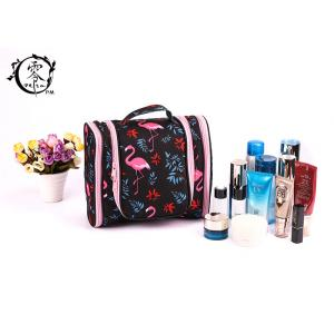 China Large Size Portable Makeup Bag , Waterproof Canvas Travel Pink Crane Lady Cosmetic Bag on sale