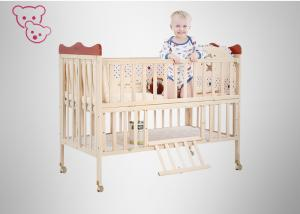 China Lengthened PP Baby Wooden Bed , Nature Color Wooden Baby Crib With Big Store Room on sale
