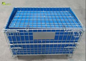 China Wire Mesh Stillage Container Portable Pallet Storage Turnover Cage With Wheels on sale