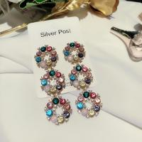 Colored crystal silver gold plated circle by circle drop dangle earrings for young lady