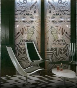 China Deep-Carving Interior Decorative laminated Glass Doors 10mm For Cafe Decoration on sale