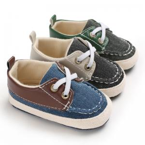 China New fashion Canvas shoes Anti-slip prewalker infant crib boy baby shoes on sale