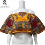 女性のDashiki様式のアフリカの印刷物は肩の黄色色の異なったサイズを離れて越えます