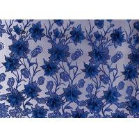 China Blue And Red Flowers Mesh Lace Fabric Wedding Dress Embroidery 50-51 Width on sale