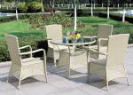 China Light Green Outdoor Rattan Furniture BBQ Dining Set With Armrest wholesale
