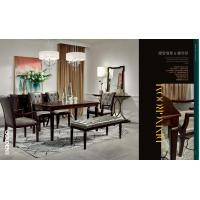 Light luxury wood furniture of dining room set by Long table with Upholstered dining chairs
