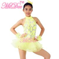 China Gray Lines Dance Competition Costumes Sleeveless Knee Length Sparkly Dresses With Fingerless Gloves on sale