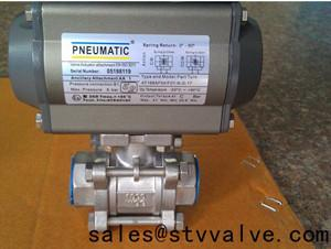 China thread connection pneumatic 3 way valve ball valve on sale