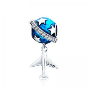 China Travel Series Set 925 Sterling Silver DIY Bracelet Bead Plane Camera Hot Air Balloon Charm on sale