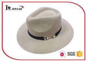 China Cream Wool Felt Cowboy Hats With Black Grosgrain Band Metal Decoration on sale