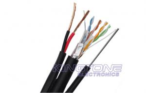 China Aerial Network Cable FTP CAT5E 24 AWG Solid Copper with Messenger for IP Camera on sale