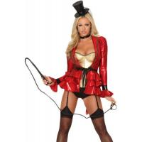 Uniform Costume Wholesale Sexy Ring Master Costume in Red by Spandex with Size from XXS to XXXL Available for Halloween