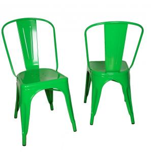 Stackable Marais Green Metal Tolix Chairs , Dining Tolix Cafe Chair
