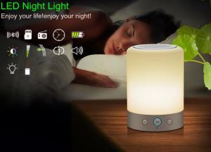 China Portable LED alarm clock bluetooth speaker FM Radio rechargeable light  night sleep table lamp LX118 on sale