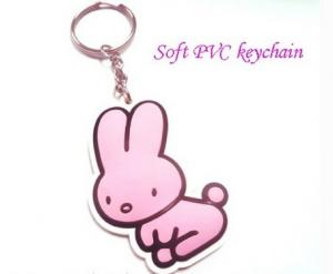 China personalized rabbit shaped logo rubber soft PVC products keychain for giveaway gift on sale
