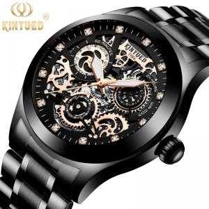 China KINYUED J062 oem waterproof custom logo leather fashion tourbillon skeleton wrist watch luxury mechanical watch men wris on sale
