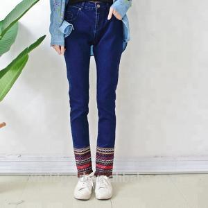 China Embroidery Tassel Leg Stretch Denim Jeans For Ladies Dark Blue Color on sale