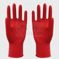 Reusable Large Heavy Duty Latex Industrial Gloves Red , Rubber Cleaning Gloves