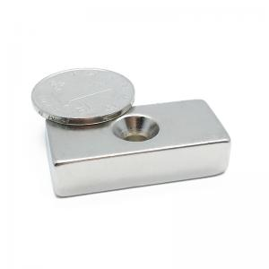 China 20*10*3mm N35 Neodymium Block Countersunk Magnets With Screw Hole on sale