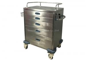 China 5 Drawers Stainless Steel Medical Trolley , Stainless Steel Hospital Carts on sale