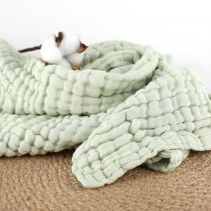 China Green Organic Cotton Muslin Fabric Absorbent Plain / Seersucker Style on sale