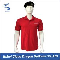 Soft Feeling Red Premium Color Police Tee Shirts With 97% Cotton / 3% Spandex Materials