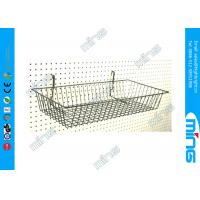 Slatwall Metal Wire Display Baskets / Chrome Modern Retail Display Racks