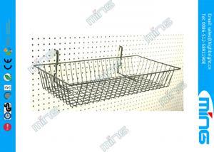 China Slatwall Metal Wire Display Baskets / Chrome Modern Retail Display Racks on sale