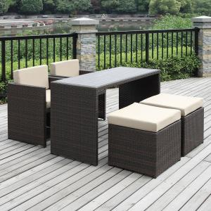 China WF-15284 cube pub PE rattan bistro wicker set for all weather on sale