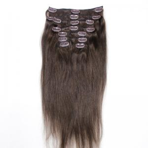 China Dark Brown Color #2 Brazilian Human Hair Clip In Hair Extensions Cuticle Aligned 8pcs 120 Gram on sale