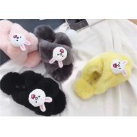 China Durable Black Smooth Sheep Wool Slippers , Womens Scuff Slippers on sale