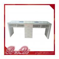 China Cnd Shellac Grey Leather Double Antique Nail Dryer Table Salon Manicure With Fan on sale