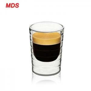 Quality Factory sale thread double wall wine glass spiral double wall coffee glass for sale