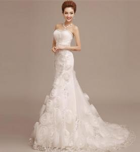 China White Heart Shaped sweetheart Bra Princess Wedding Gowns with long train LXHS-1528 on sale