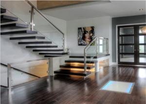 Quality Metal Floating Stairs , Modern Floating Stairs Single Invisible Stringer Staircase for sale