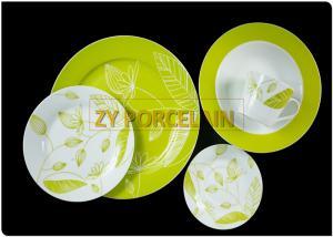 China Kitchen Porcelain Green Round Dinnerware Sets Decorative Christmas Dish Sets on sale
