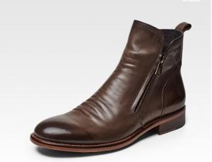 China El resbalón para hombre plano casual en botas, punta puntiaguda Brown ata para arriba botas del tobillo on sale