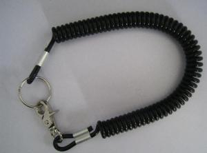 China Plastic strong 4.0mm black coil tool lanyard with swivel snap hook and key ring on sale