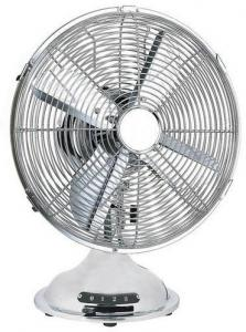 China Chrome 12 Inch Metal Blade Oscillating Fan 4 Blade 3 Speed For Singapore on sale